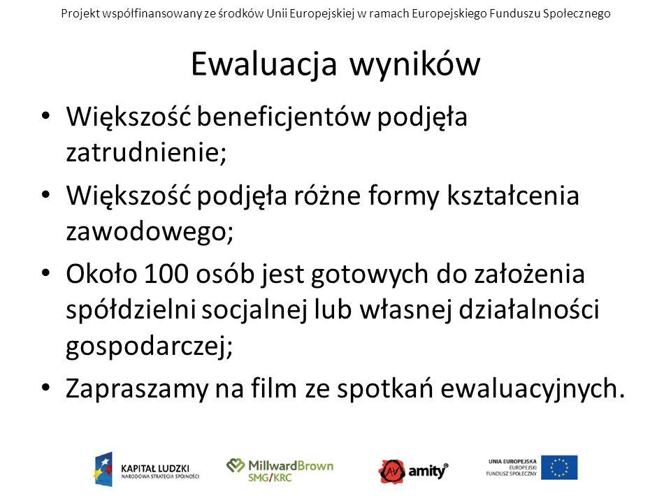 Projekt współfinansowany ze środków Unii Europejskiej w ramach Europejskiego Funduszu Społecznego Ewaluacja wyników Większość beneficjentów podjęła za