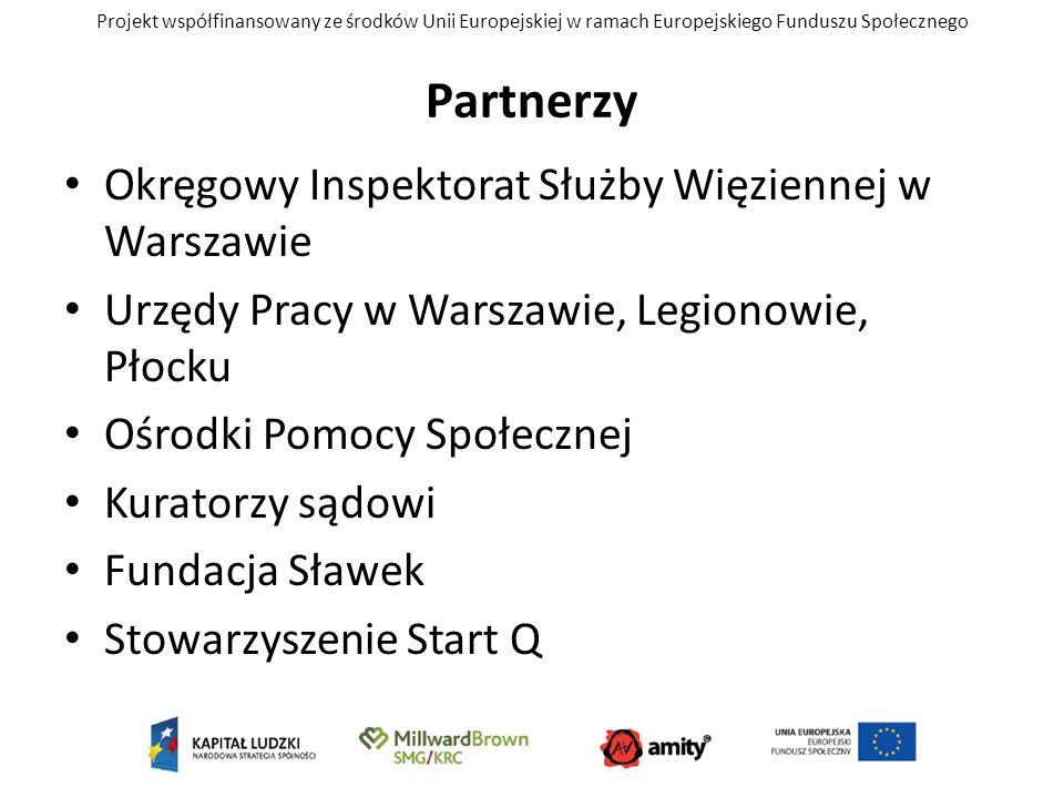 Projekt współfinansowany ze środków Unii Europejskiej w ramach Europejskiego Funduszu Społecznego Partnerzy Okręgowy Inspektorat Służby Więziennej w W
