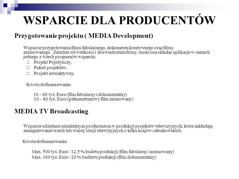 WSPARCIE DLA PRODUCENTÓW Przygotowanie projektu ( MEDIA Development) Wsparcie przygotowania filmu fabularnego, dokumentu kreatywnego oraz filmu animow