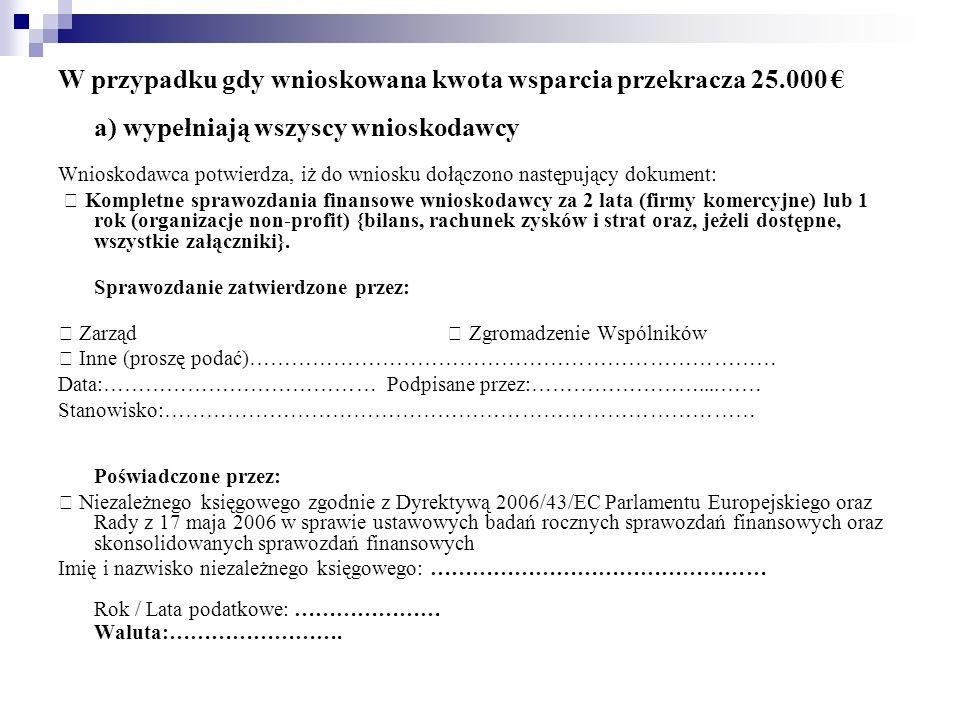 W przypadku gdy wnioskowana kwota wsparcia przekracza 25.000 a) wypełniają wszyscy wnioskodawcy Wnioskodawca potwierdza, iż do wniosku dołączono nastę