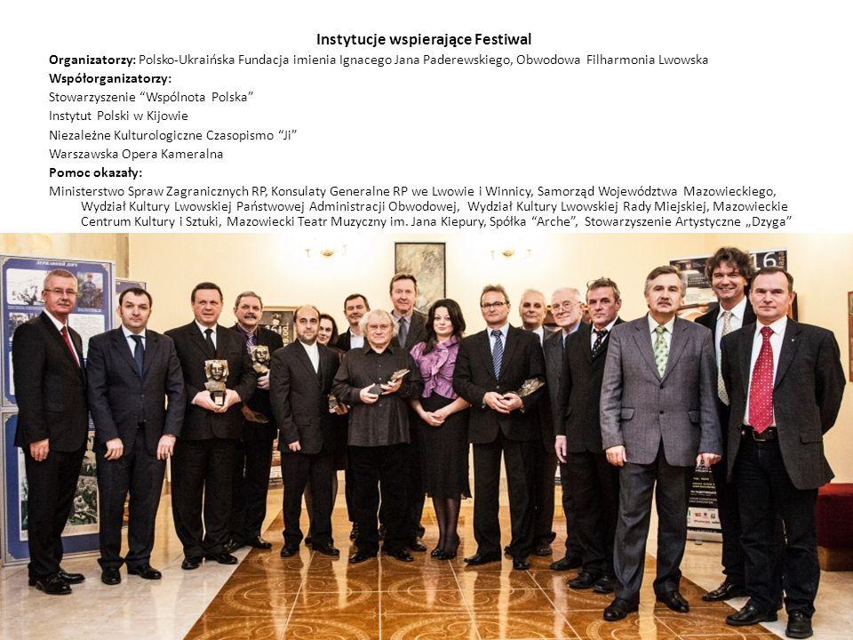 Instytucje wspierające Festiwal Organizatorzy: Polsko-Ukraińska Fundacja imienia Ignacego Jana Paderewskiego, Obwodowa Filharmonia Lwowska Współorgani