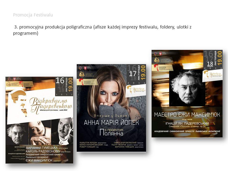Promocja Festiwalu 3. promocyjna produkcja poligraficzna (afisze każdej imprezy festiwalu, foldery, ulotki z programem)