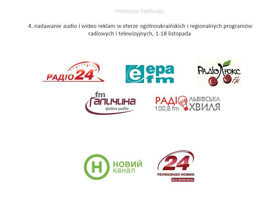 Promocja Festiwalu 4. nadawanie audio i wideo reklam w eterze ogólnoukraińskich i regionalnych programów radiowych i telewizyjnych, 1-18 listopada