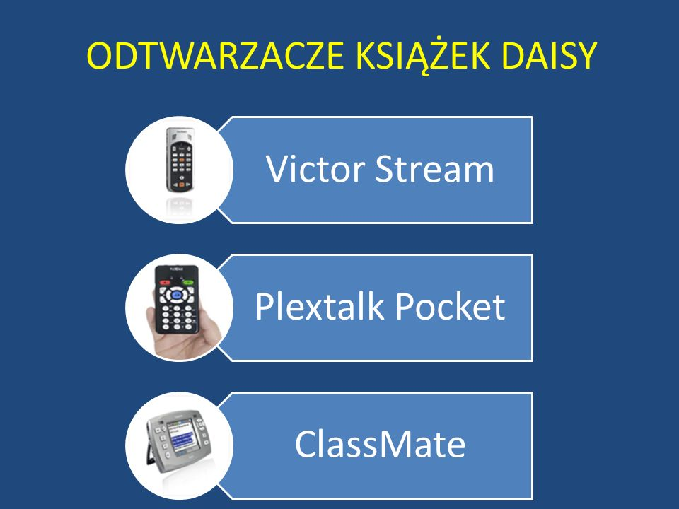 ODTWARZACZE KSIĄŻEK DAISY Victor Stream Plextalk Pocket ClassMate