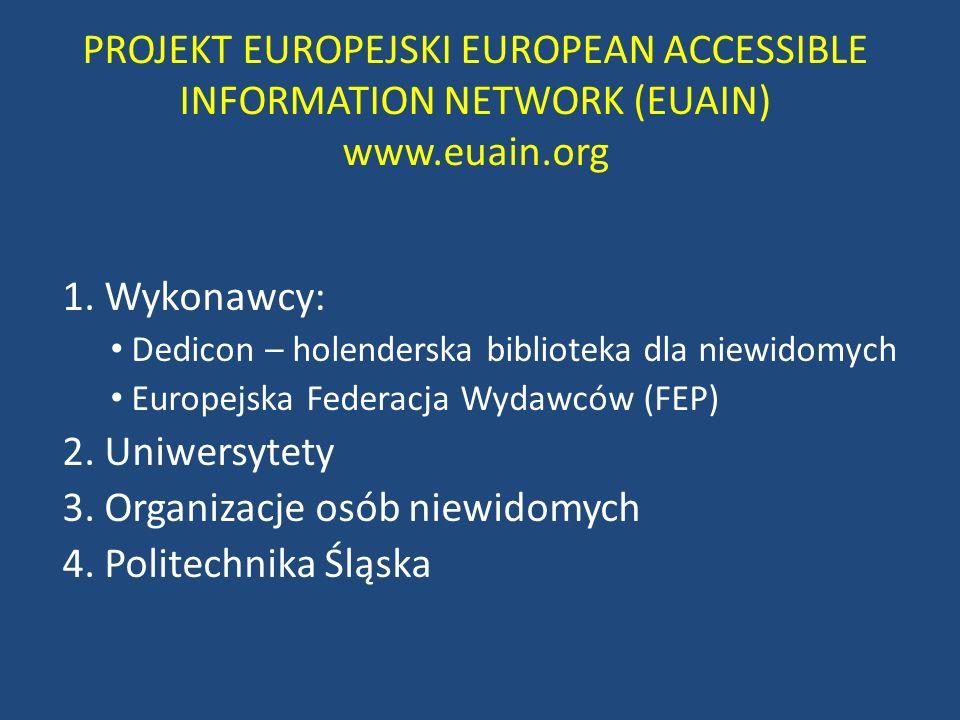 PROJEKT EUROPEJSKI EUROPEAN ACCESSIBLE INFORMATION NETWORK (EUAIN) www.euain.org 1. Wykonawcy: Dedicon – holenderska biblioteka dla niewidomych Europe