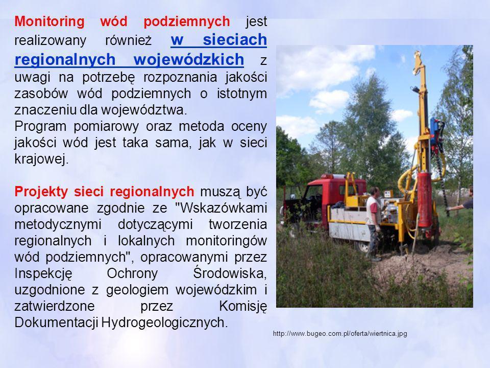 Monitoring wód podziemnych jest realizowany również w sieciach regionalnych wojewódzkich z uwagi na potrzebę rozpoznania jakości zasobów wód podziemny
