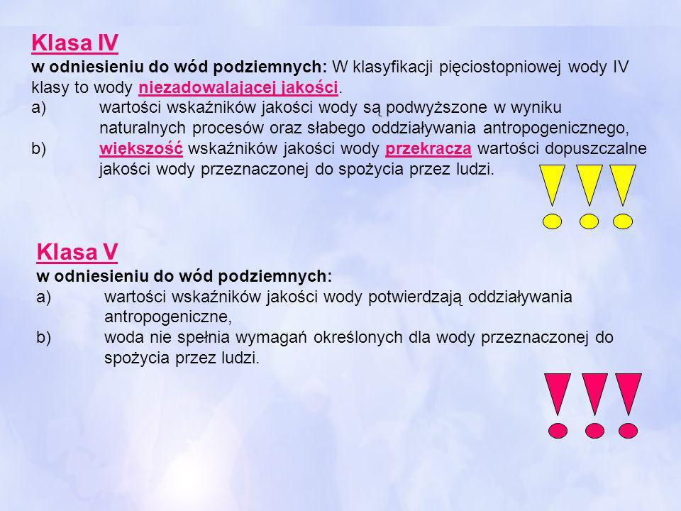 Klasa IV w odniesieniu do wód podziemnych: W klasyfikacji pięciostopniowej wody IV klasy to wody niezadowalającej jakości. a) wartości wskaźników jako