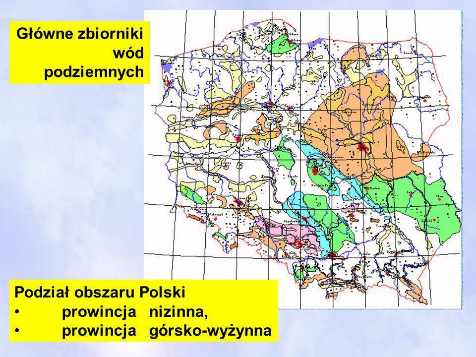 Główne zbiorniki wód podziemnych Podział obszaru Polski prowincja nizinna, prowincja górsko-wyżynna