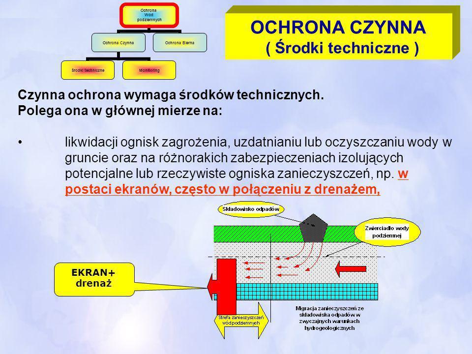 Czynna ochrona wymaga środków technicznych. Polega ona w głównej mierze na: likwidacji ognisk zagrożenia, uzdatnianiu lub oczyszczaniu wody w gruncie
