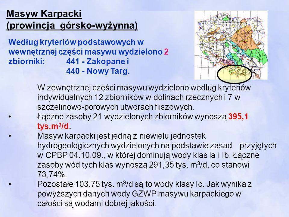 W zewnętrznej części masywu wydzielono według kryteriów indywidualnych 12 zbiorników w dolinach rzecznych i 7 w szczelinowo-porowych utworach fliszowy
