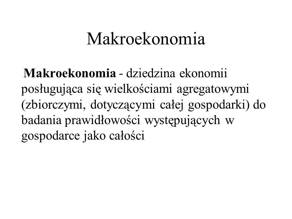Makroekonomia Makroekonomia - dziedzina ekonomii posługująca się wielkościami agregatowymi (zbiorczymi, dotyczącymi całej gospodarki) do badania prawi