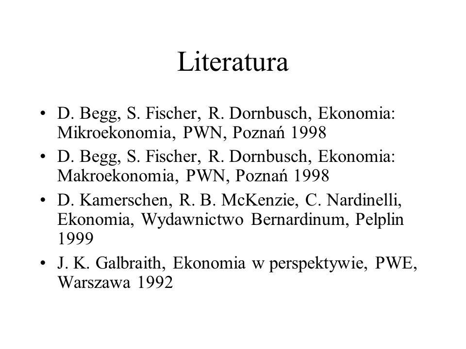 Literatura D. Begg, S. Fischer, R. Dornbusch, Ekonomia: Mikroekonomia, PWN, Poznań 1998 D. Begg, S. Fischer, R. Dornbusch, Ekonomia: Makroekonomia, PW