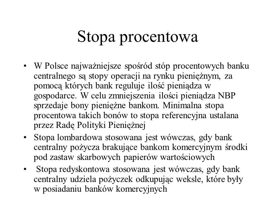 Stopa procentowa W Polsce najważniejsze spośród stóp procentowych banku centralnego są stopy operacji na rynku pieniężnym, za pomocą których bank regu