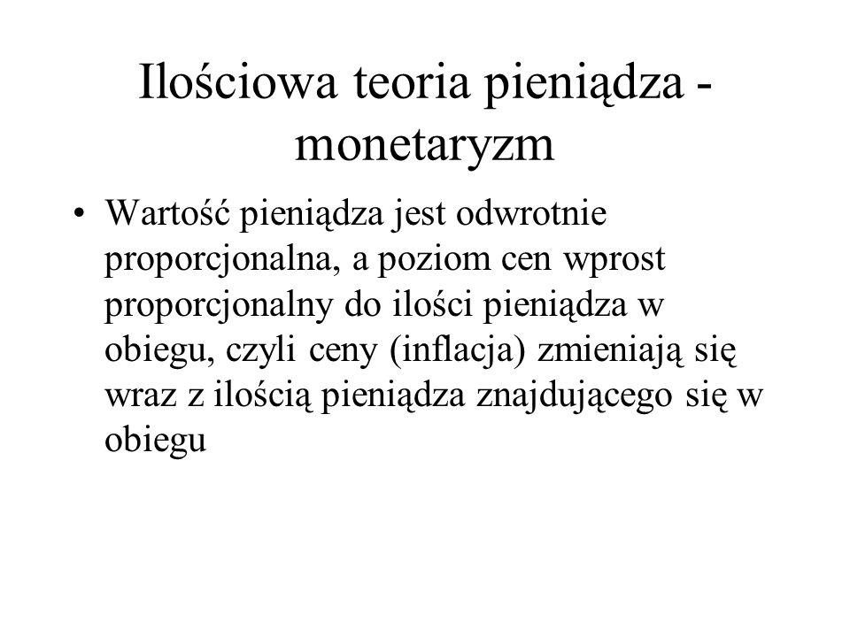 Ilościowa teoria pieniądza - monetaryzm Wartość pieniądza jest odwrotnie proporcjonalna, a poziom cen wprost proporcjonalny do ilości pieniądza w obie