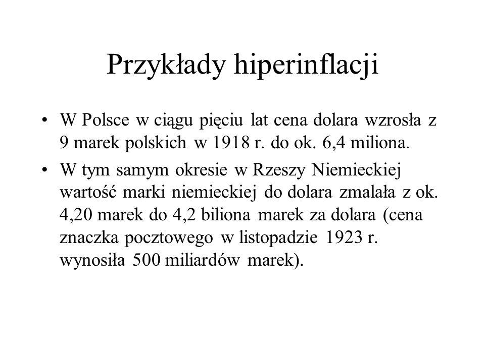 Przykłady hiperinflacji W Polsce w ciągu pięciu lat cena dolara wzrosła z 9 marek polskich w 1918 r. do ok. 6,4 miliona. W tym samym okresie w Rzeszy