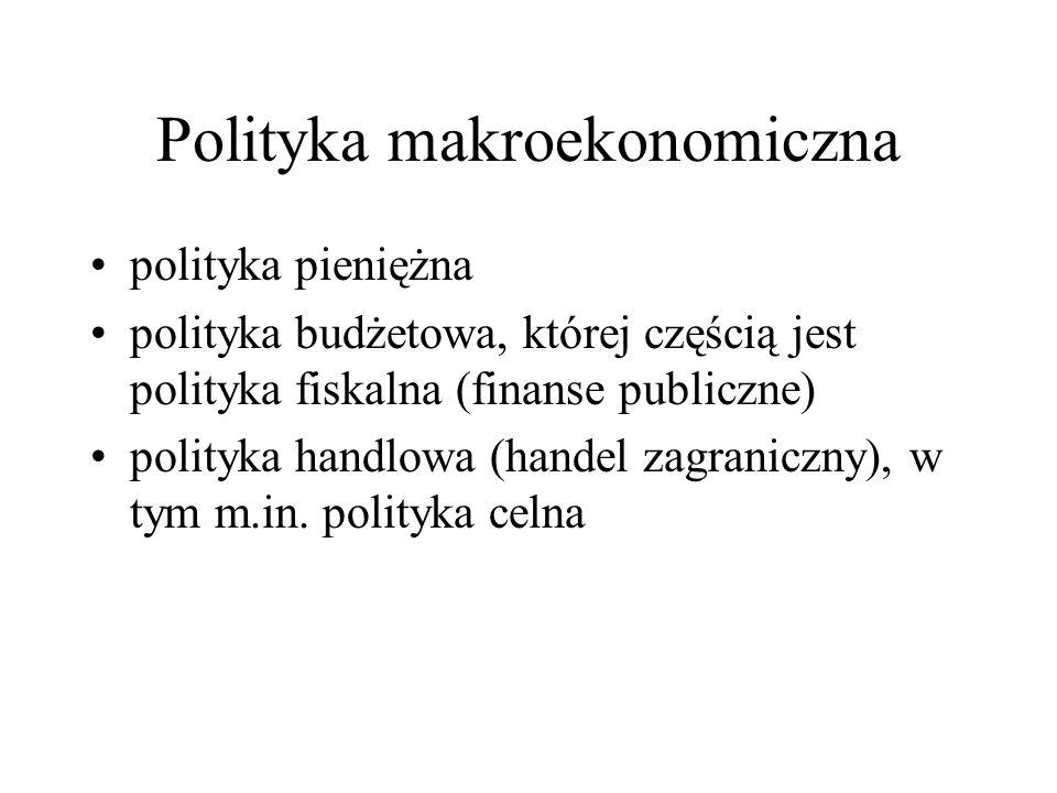 Polityka makroekonomiczna polityka pieniężna polityka budżetowa, której częścią jest polityka fiskalna (finanse publiczne) polityka handlowa (handel z