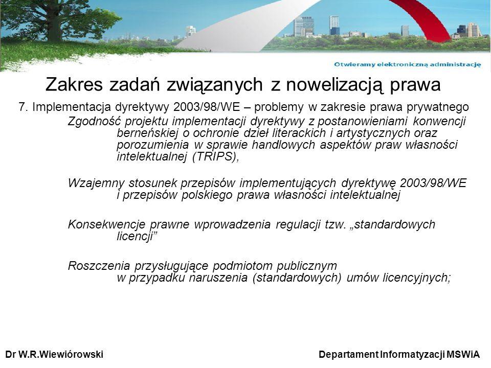 7. Implementacja dyrektywy 2003/98/WE – problemy w zakresie prawa prywatnego Zgodność projektu implementacji dyrektywy z postanowieniami konwencji ber