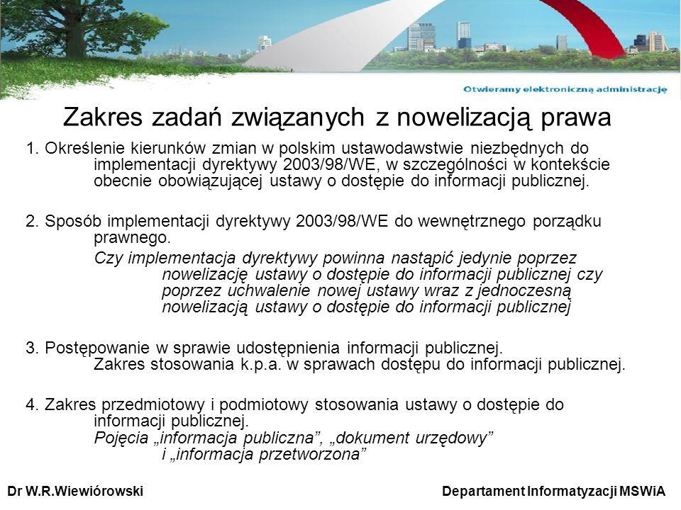 Zakres zadań związanych z nowelizacją prawa 1. Określenie kierunków zmian w polskim ustawodawstwie niezbędnych do implementacji dyrektywy 2003/98/WE,