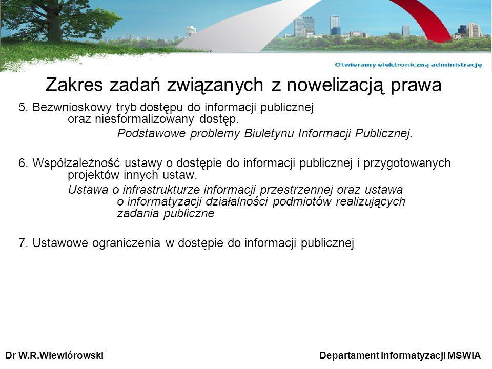 5. Bezwnioskowy tryb dostępu do informacji publicznej oraz niesformalizowany dostęp. Podstawowe problemy Biuletynu Informacji Publicznej. 6. Współzale