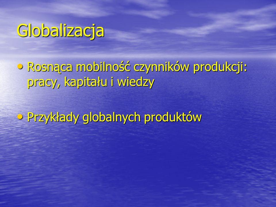 Globalizacja Rosnąca mobilność czynników produkcji: pracy, kapitału i wiedzy Rosnąca mobilność czynników produkcji: pracy, kapitału i wiedzy Przykłady
