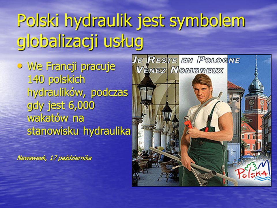 Polski hydraulik jest symbolem globalizacji usług We Francji pracuje 140 polskich hydraulików, podczas gdy jest 6,000 wakatów na stanowisku hydraulika