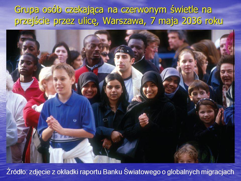 Grupa osób czekająca na czerwonym świetle na przejście przez ulicę, Warszawa, 7 maja 2036 roku Źródło: zdjęcie z okładki raportu Banku Światowego o gl