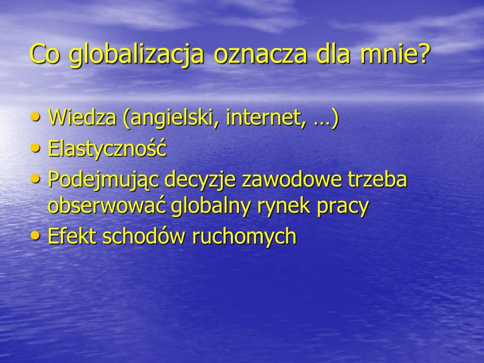 Co globalizacja oznacza dla mnie? Wiedza (angielski, internet, …) Wiedza (angielski, internet, …) Elastyczność Elastyczność Podejmując decyzje zawodow