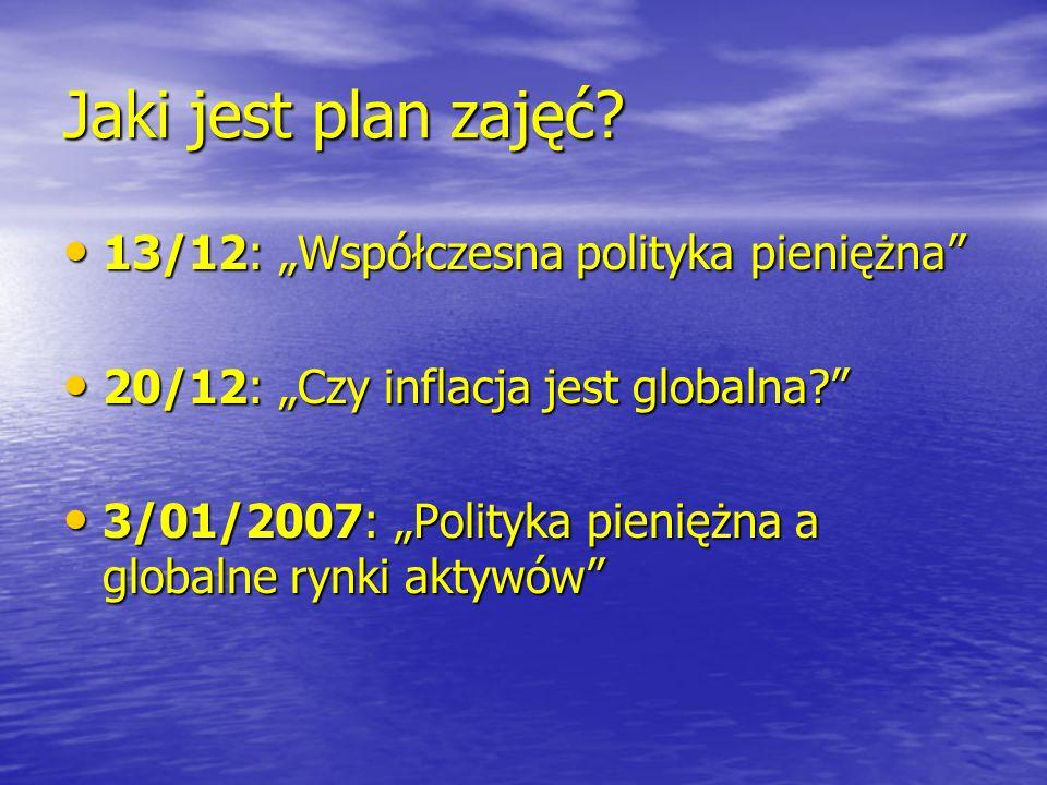 Jaki jest plan zajęć? 13/12: Współczesna polityka pieniężna 13/12: Współczesna polityka pieniężna 20/12: Czy inflacja jest globalna? 20/12: Czy inflac