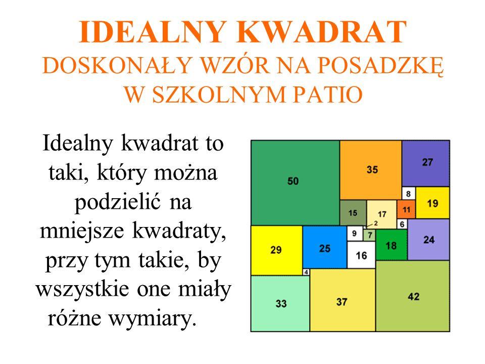 IDEALNY KWADRAT DOSKONAŁY WZÓR NA POSADZKĘ W SZKOLNYM PATIO Idealny kwadrat to taki, który można podzielić na mniejsze kwadraty, przy tym takie, by ws