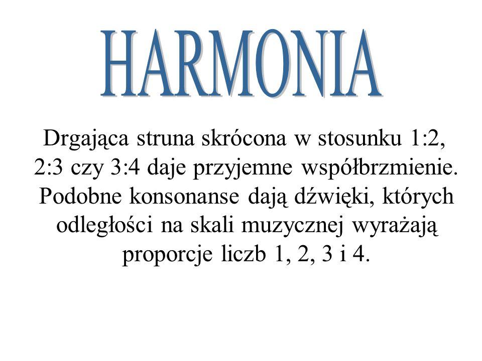 Drgająca struna skrócona w stosunku 1:2, 2:3 czy 3:4 daje przyjemne współbrzmienie. Podobne konsonanse dają dźwięki, których odległości na skali muzyc