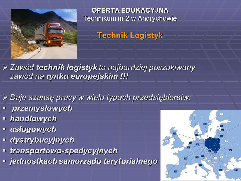 OFERTA EDUKACYJNA Technikum nr 2 w Andrychowie Technik Logistyk Zawód technik logistyk to najbardziej poszukiwany zawód na rynku europejskim !!! Daje