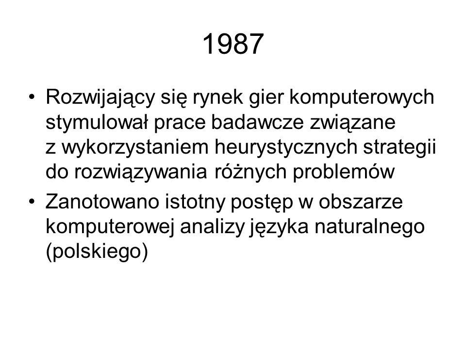 1986 Nastąpił pierwszy (wielokrotnie potem ponawiany) przypływ entuzjazmu dla metod wnioskowania opartych na teorii zbiorów rozmytych Przyjęta została