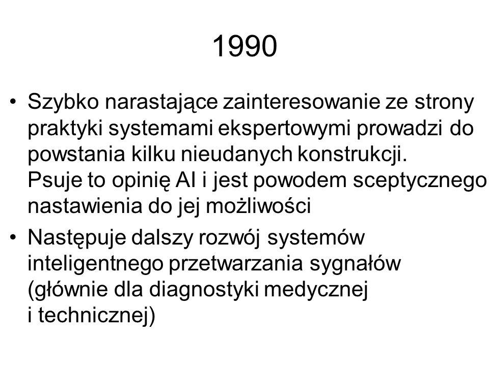 1989 Początek zainteresowania techniką sieci neuronowych Powstaje kilka dobrych polskich systemów ekspertowych Dzięki PROLOGowi obliczenia symboliczne