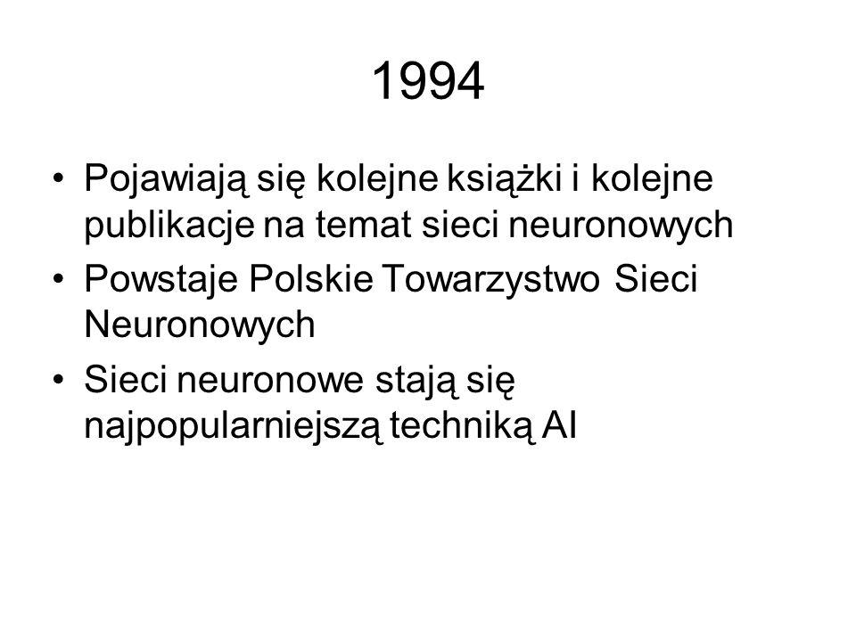 1993 Ukazała się pierwsza polska książka na temat sieci neuronowych. Zainteresowanie było tak duże, że w tym samym roku trzeba było wydać drugie wydan