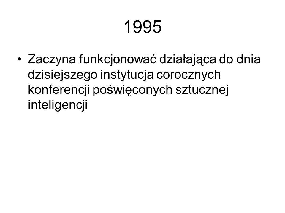 1994 Pojawiają się kolejne książki i kolejne publikacje na temat sieci neuronowych Powstaje Polskie Towarzystwo Sieci Neuronowych Sieci neuronowe staj
