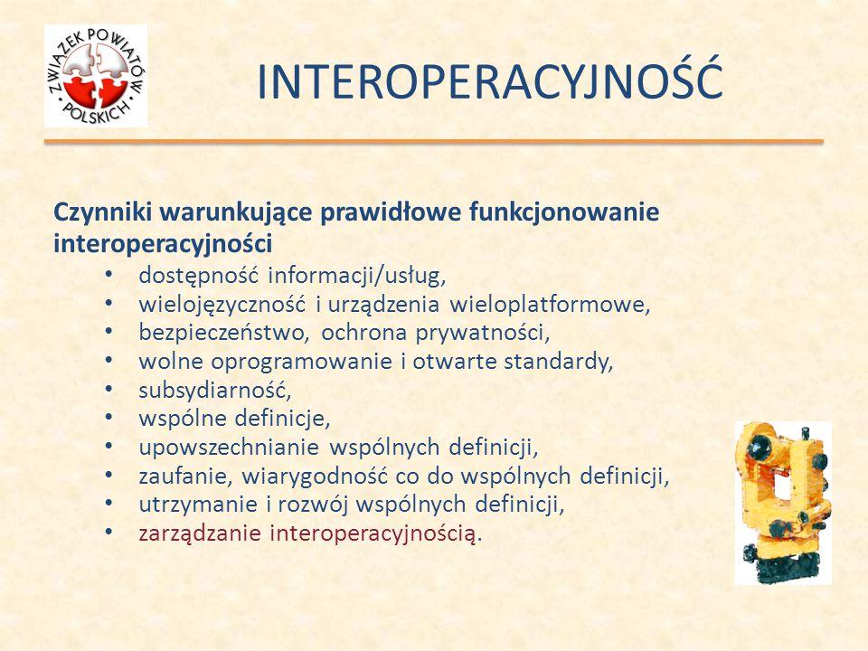 INTEROPERACYJNOŚĆ Czynniki warunkujące prawidłowe funkcjonowanie interoperacyjności dostępność informacji/usług, wielojęzyczność i urządzenia wielopla