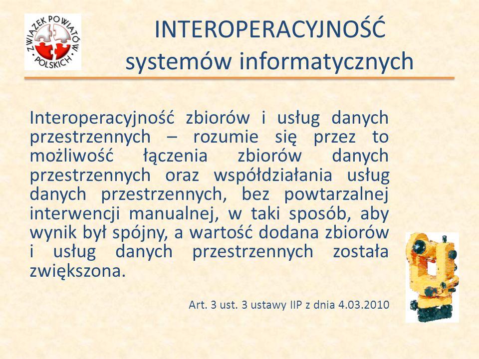 INTEROPERACYJNOŚĆ systemów informatycznych Interoperacyjność zbiorów i usług danych przestrzennych – rozumie się przez to możliwość łączenia zbiorów d
