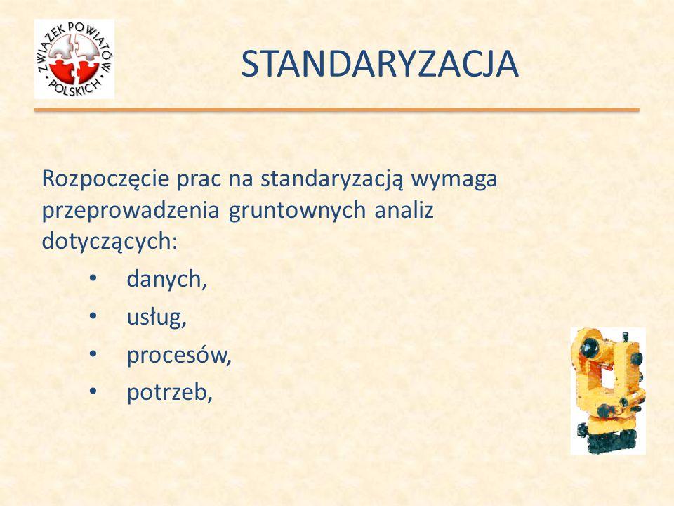 STANDARYZACJA Rozpoczęcie prac na standaryzacją wymaga przeprowadzenia gruntownych analiz dotyczących: danych, usług, procesów, potrzeb,