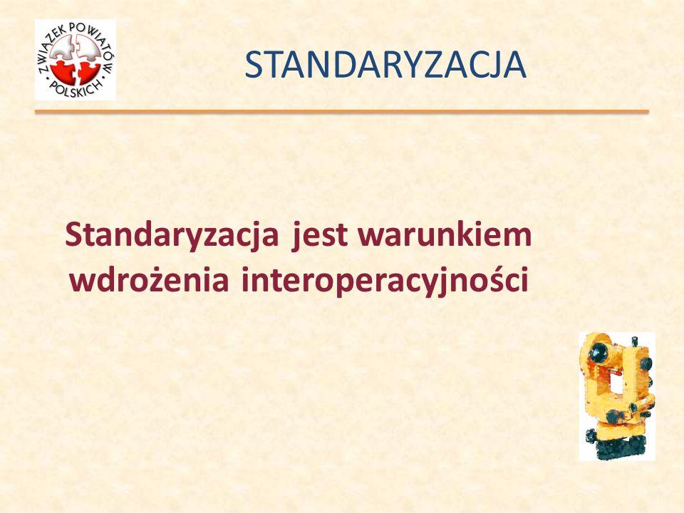 STANDARYZACJA Standaryzacja jest warunkiem wdrożenia interoperacyjności