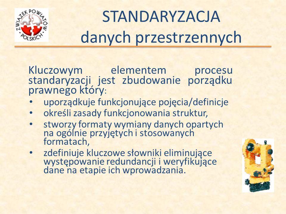 STANDARYZACJA danych przestrzennych Kluczowym elementem procesu standaryzacji jest zbudowanie porządku prawnego który : uporządkuje funkcjonujące poję