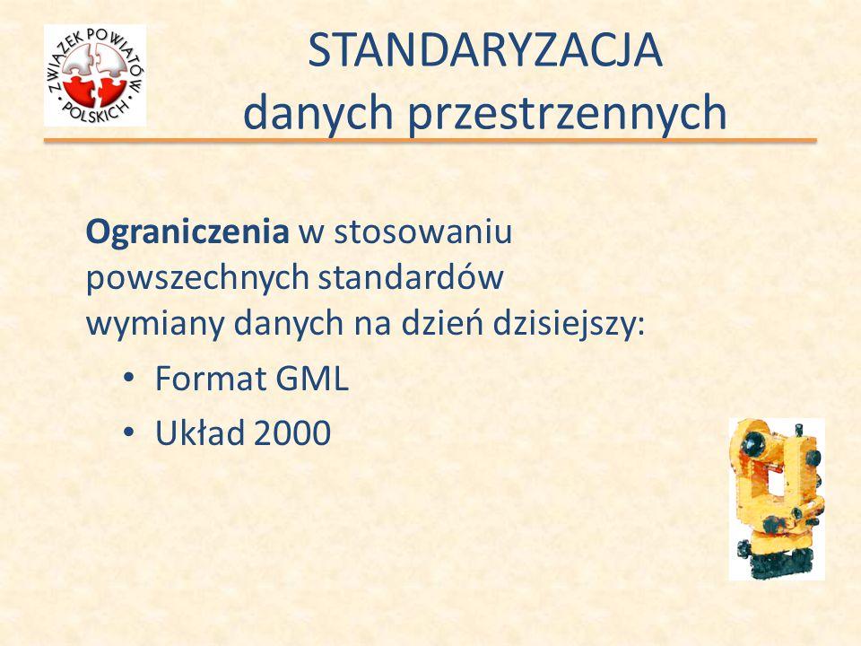 STANDARYZACJA danych przestrzennych Ograniczenia w stosowaniu powszechnych standardów wymiany danych na dzień dzisiejszy: Format GML Układ 2000