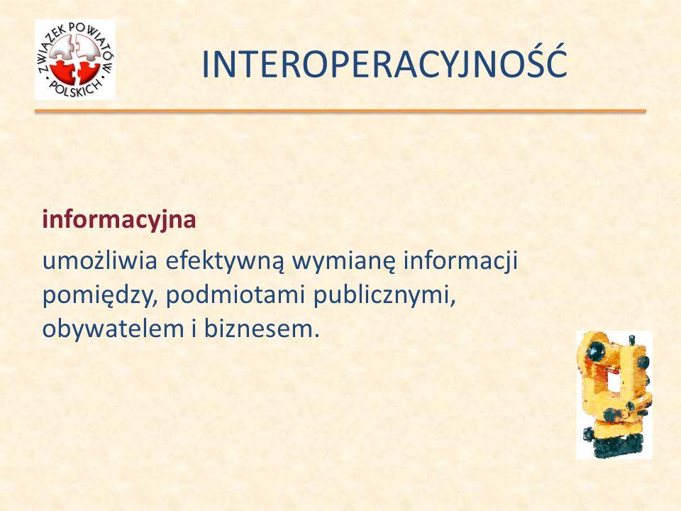 INTEROPERACYJNOŚĆ zapewnia: usunięcie konfliktów na poziomie danych (różna interpretacja podobnych danych – semantyka); usunięcie konfliktów na poziomie struktury danych (logika, niespójność metadanych – synktatyka); umożliwia: zarządzanie konfliktami semantycznymi w sposób automatyczny