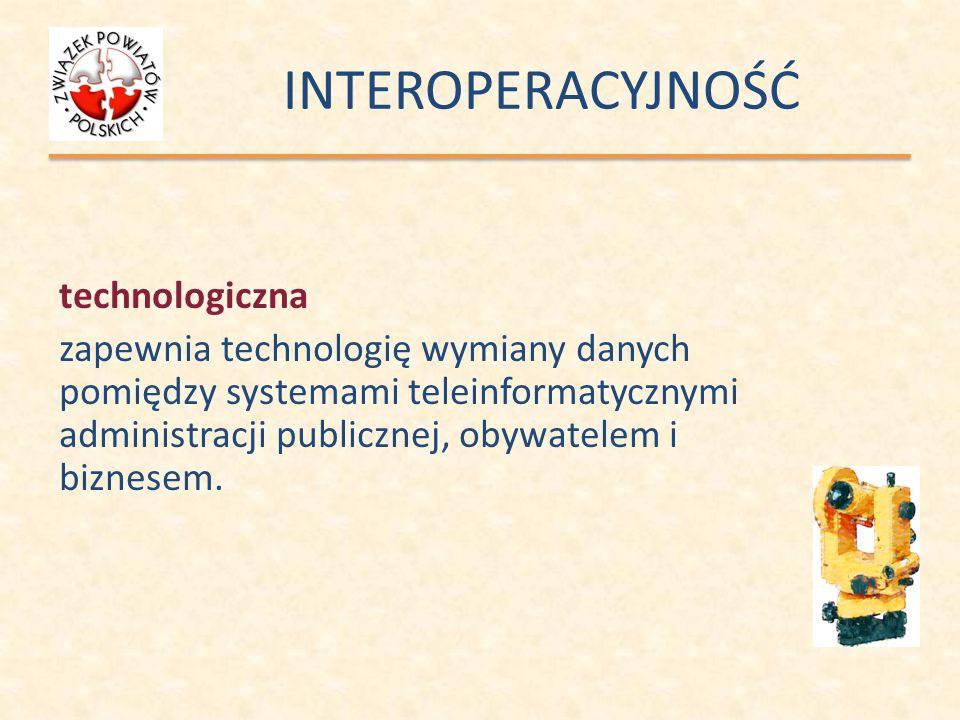 INTEROPERACYJNOŚĆ technologiczna zapewnia technologię wymiany danych pomiędzy systemami teleinformatycznymi administracji publicznej, obywatelem i biz
