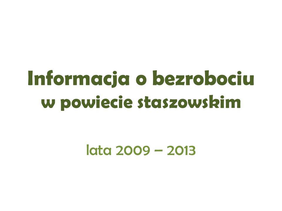 Informacja o bezrobociu w powiecie staszowskim lata 2009 – 2013