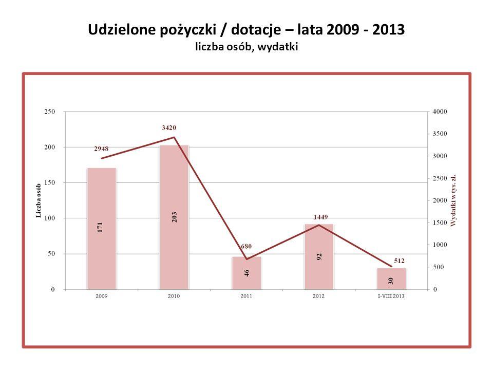 Udzielone pożyczki / dotacje – lata 2009 - 2013 liczba osób, wydatki