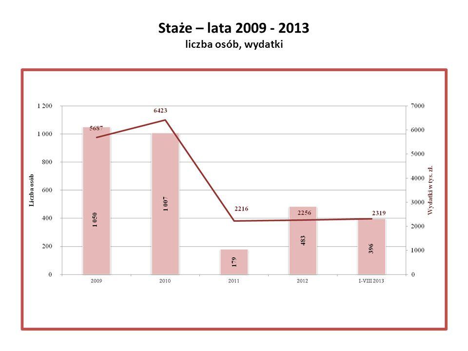 Staże – lata 2009 - 2013 liczba osób, wydatki