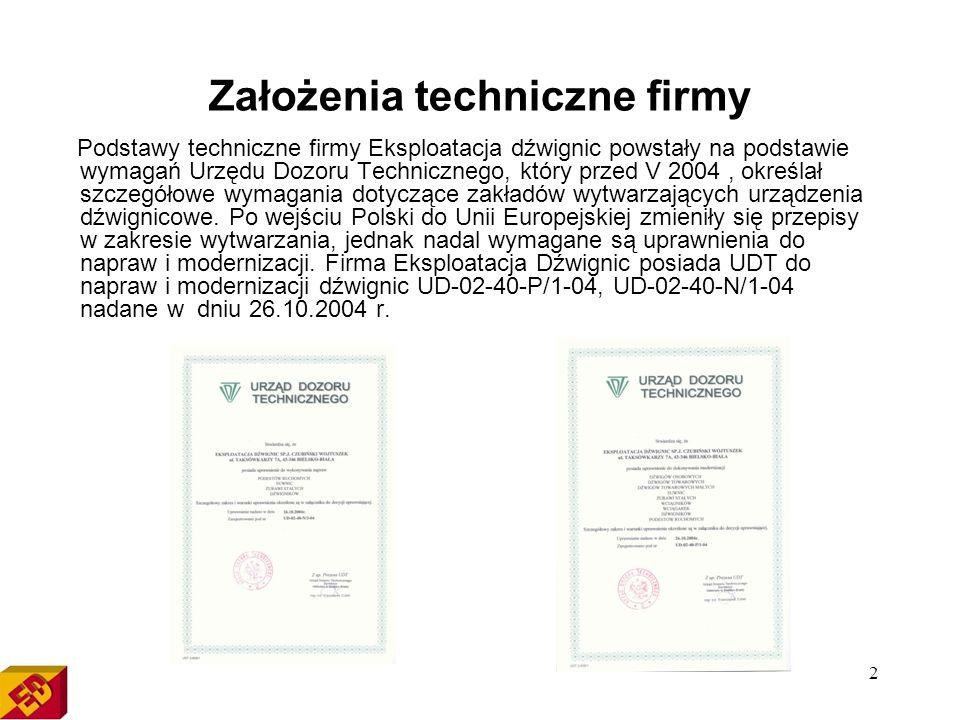 2 Założenia techniczne firmy Podstawy techniczne firmy Eksploatacja dźwignic powstały na podstawie wymagań Urzędu Dozoru Technicznego, który przed V 2004, określał szczegółowe wymagania dotyczące zakładów wytwarzających urządzenia dźwignicowe.