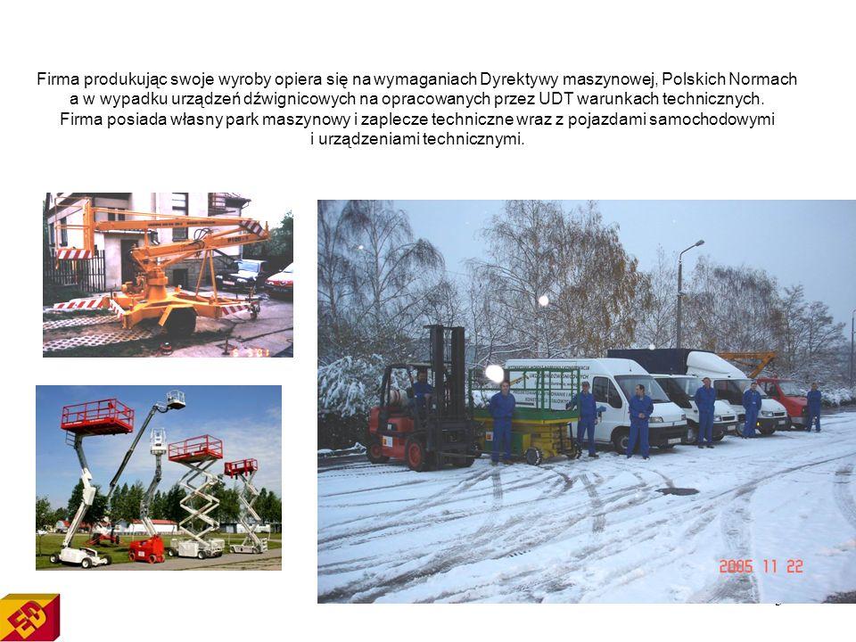3 Firma produkując swoje wyroby opiera się na wymaganiach Dyrektywy maszynowej, Polskich Normach a w wypadku urządzeń dźwignicowych na opracowanych przez UDT warunkach technicznych.