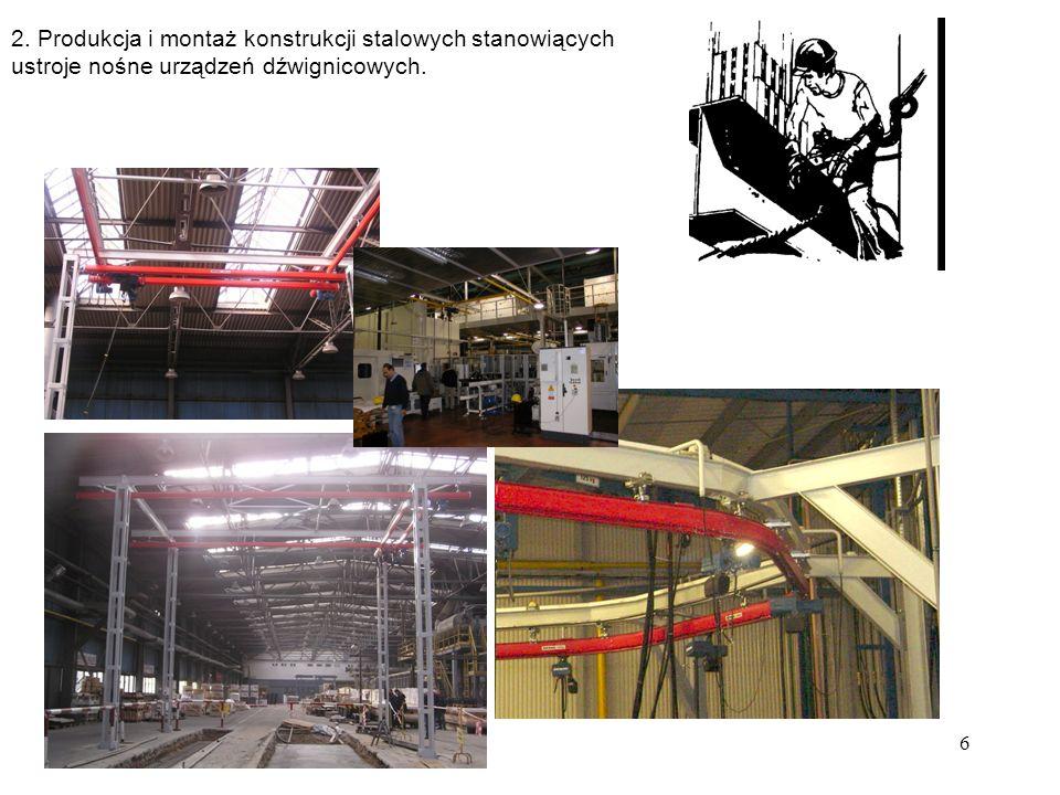 6 2. Produkcja i montaż konstrukcji stalowych stanowiących ustroje nośne urządzeń dźwignicowych.