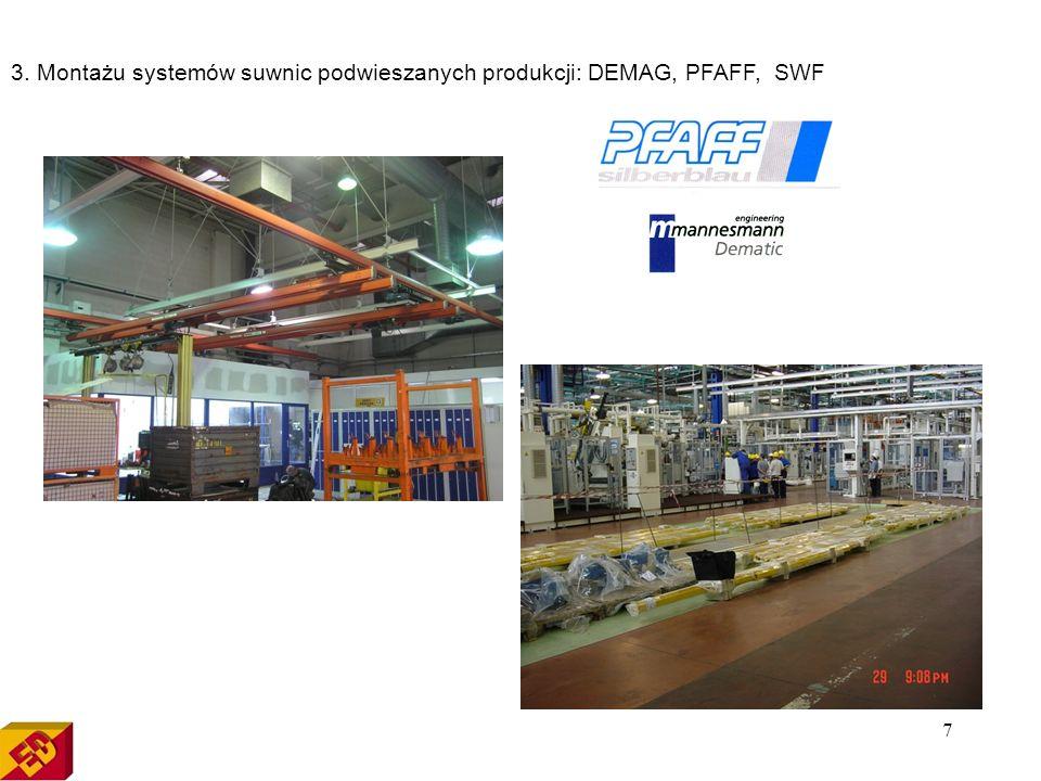 7 3. Montażu systemów suwnic podwieszanych produkcji: DEMAG, PFAFF, SWF